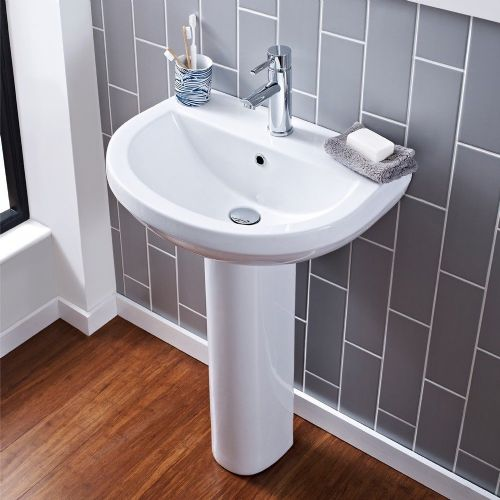 Ivo 550mm Basin & Full Pedestal - 1 Tap Hole